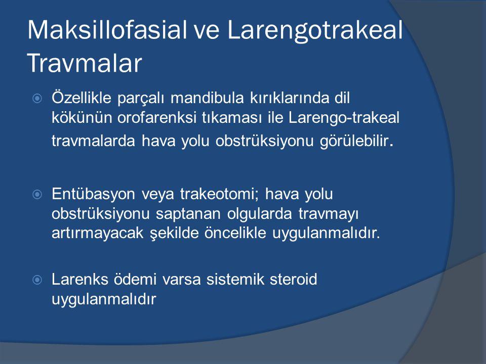 Maksillofasial ve Larengotrakeal Travmalar  Özellikle parçalı mandibula kırıklarında dil kökünün orofarenksi tıkaması ile Larengo-trakeal travmalarda hava yolu obstrüksiyonu görülebilir.