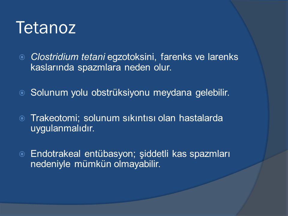 Tetanoz  Clostridium tetani egzotoksini, farenks ve larenks kaslarında spazmlara neden olur.
