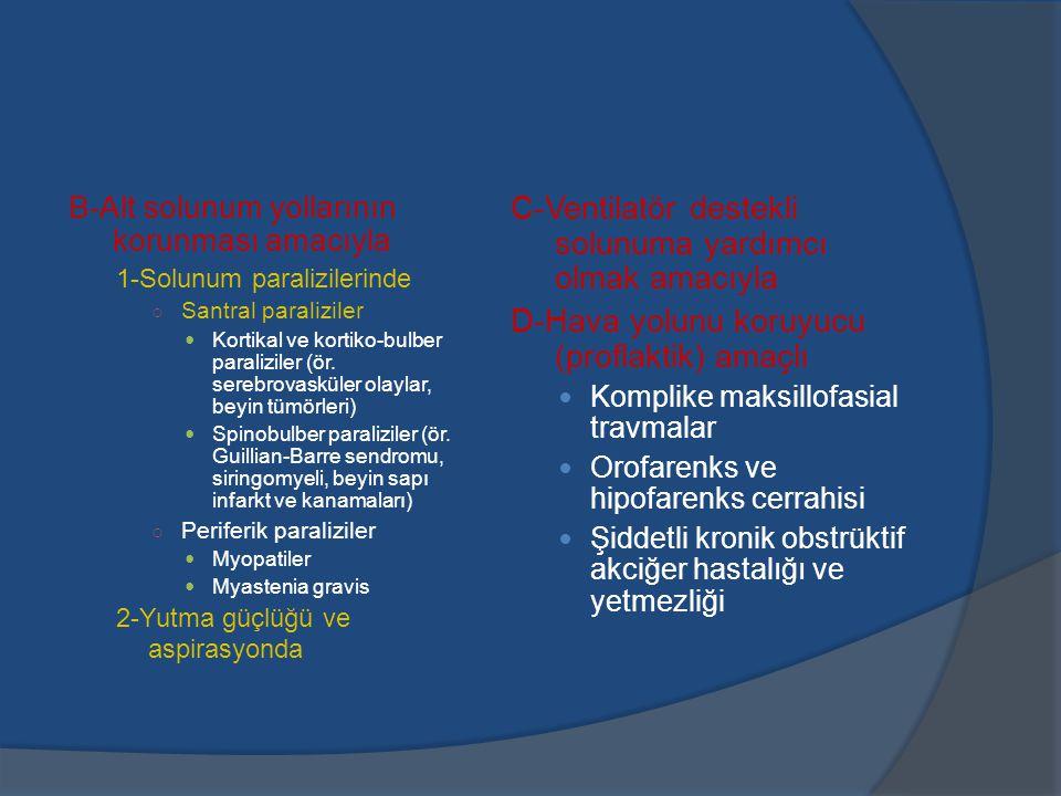 B-Alt solunum yollarının korunması amacıyla 1-Solunum paralizilerinde ○ Santral paraliziler Kortikal ve kortiko-bulber paraliziler (ör.