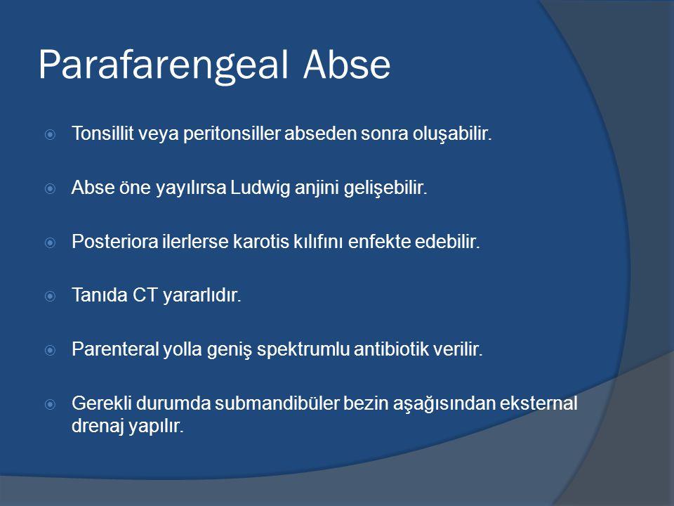 Parafarengeal Abse  Tonsillit veya peritonsiller abseden sonra oluşabilir.
