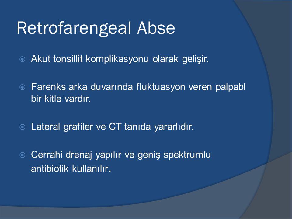 Retrofarengeal Abse  Akut tonsillit komplikasyonu olarak gelişir.
