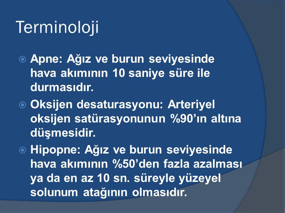 Terminoloji  Apne: Ağız ve burun seviyesinde hava akımının 10 saniye süre ile durmasıdır.