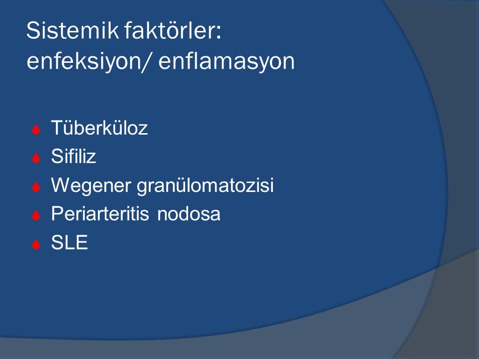 Sistemik faktörler: enfeksiyon/ enflamasyon  Tüberküloz  Sifiliz  Wegener granülomatozisi  Periarteritis nodosa  SLE
