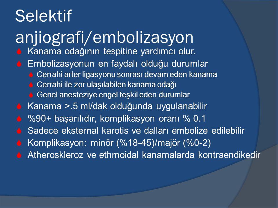 Selektif anjiografi/embolizasyon  Kanama odağının tespitine yardımcı olur.
