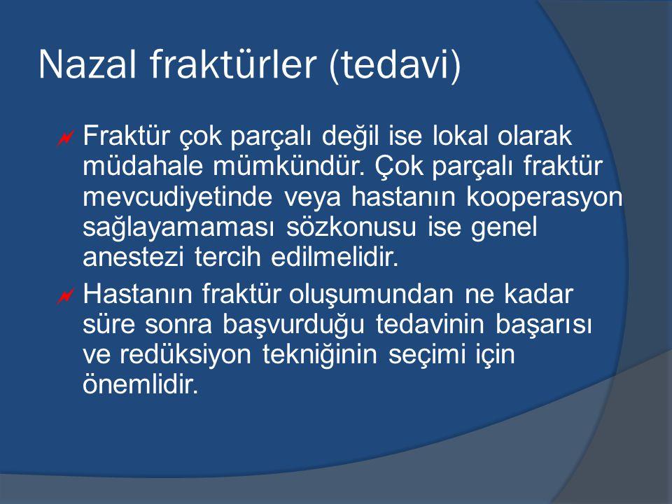 Nazal fraktürler (tedavi)  Fraktür çok parçalı değil ise lokal olarak müdahale mümkündür.