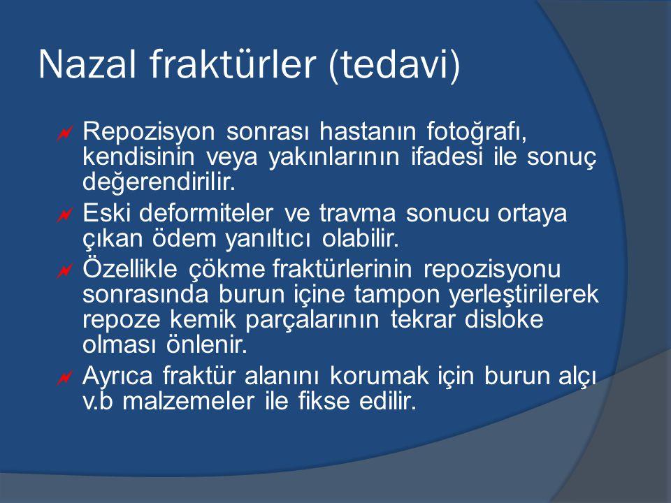 Nazal fraktürler (tedavi)  Repozisyon sonrası hastanın fotoğrafı, kendisinin veya yakınlarının ifadesi ile sonuç değerendirilir.