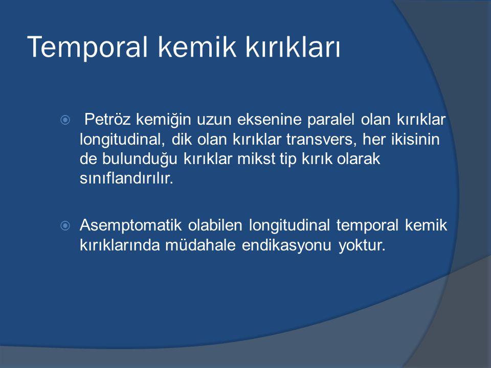 Temporal kemik kırıkları  Petröz kemiğin uzun eksenine paralel olan kırıklar longitudinal, dik olan kırıklar transvers, her ikisinin de bulunduğu kırıklar mikst tip kırık olarak sınıflandırılır.