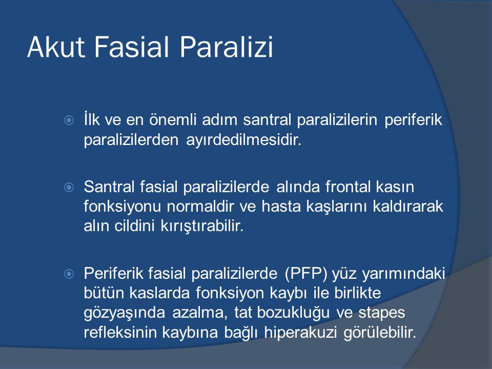 Akut Fasial Paralizi  İlk ve en önemli adım santral paralizilerin periferik paralizilerden ayırdedilmesidir.