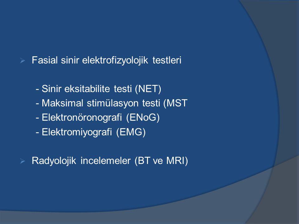 Fasial sinir elektrofizyolojik testleri - Sinir eksitabilite testi (NET) - Maksimal stimülasyon testi (MST - Elektronöronografi (ENoG) - Elektromiyografi (EMG)  Radyolojik incelemeler (BT ve MRI)
