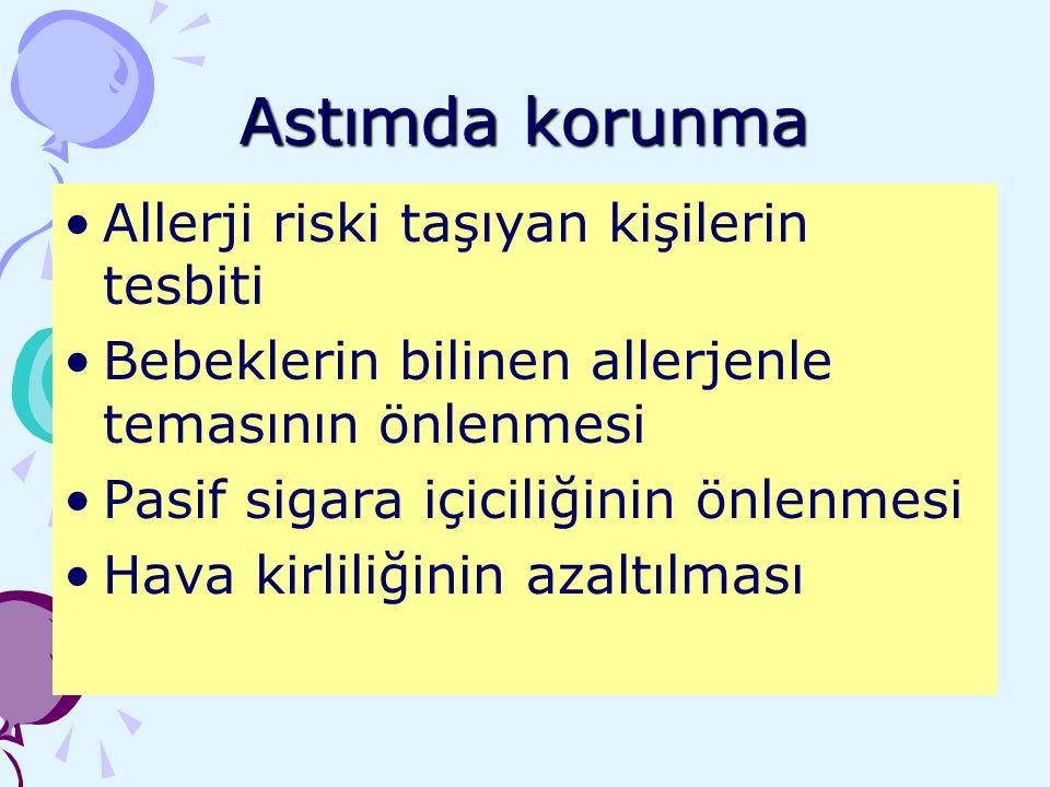 Astımda korunma Allerji riski taşıyan kişilerin tesbiti Bebeklerin bilinen allerjenle temasının önlenmesi Pasif sigara içiciliğinin önlenmesi Hava kir