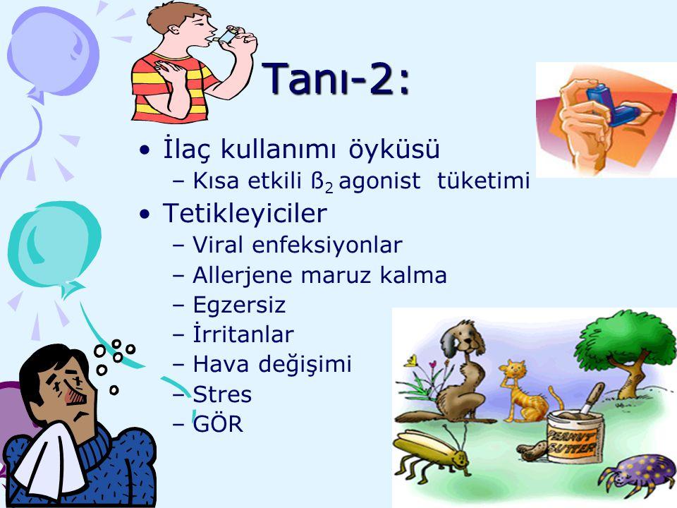 Tanı-2: İlaç kullanımı öyküsü –Kısa etkili ß 2 agonist tüketimi Tetikleyiciler –Viral enfeksiyonlar –Allerjene maruz kalma –Egzersiz –İrritanlar –Hava