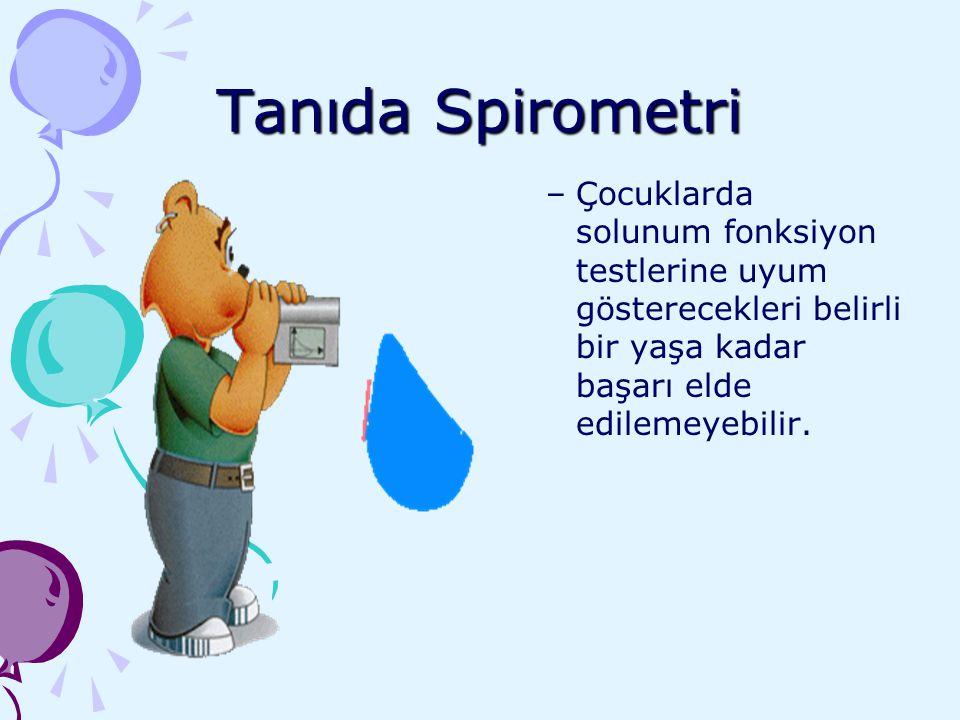 Tanıda Spirometri –Çocuklarda solunum fonksiyon testlerine uyum gösterecekleri belirli bir yaşa kadar başarı elde edilemeyebilir.