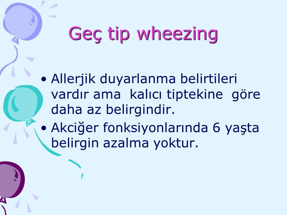 Geç tip wheezing Allerjik duyarlanma belirtileri vardır ama kalıcı tiptekine göre daha az belirgindir. Akciğer fonksiyonlarında 6 yaşta belirgin azalm