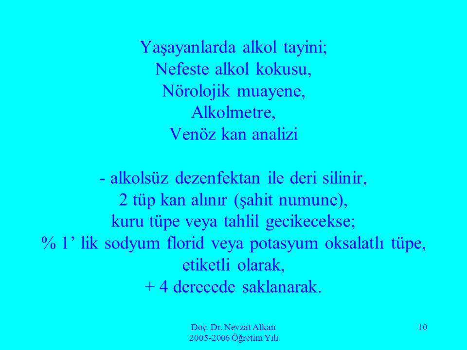 Doç. Dr. Nevzat Alkan 2005-2006 Öğretim Yılı 10 Yaşayanlarda alkol tayini; Nefeste alkol kokusu, Nörolojik muayene, Alkolmetre, Venöz kan analizi - al