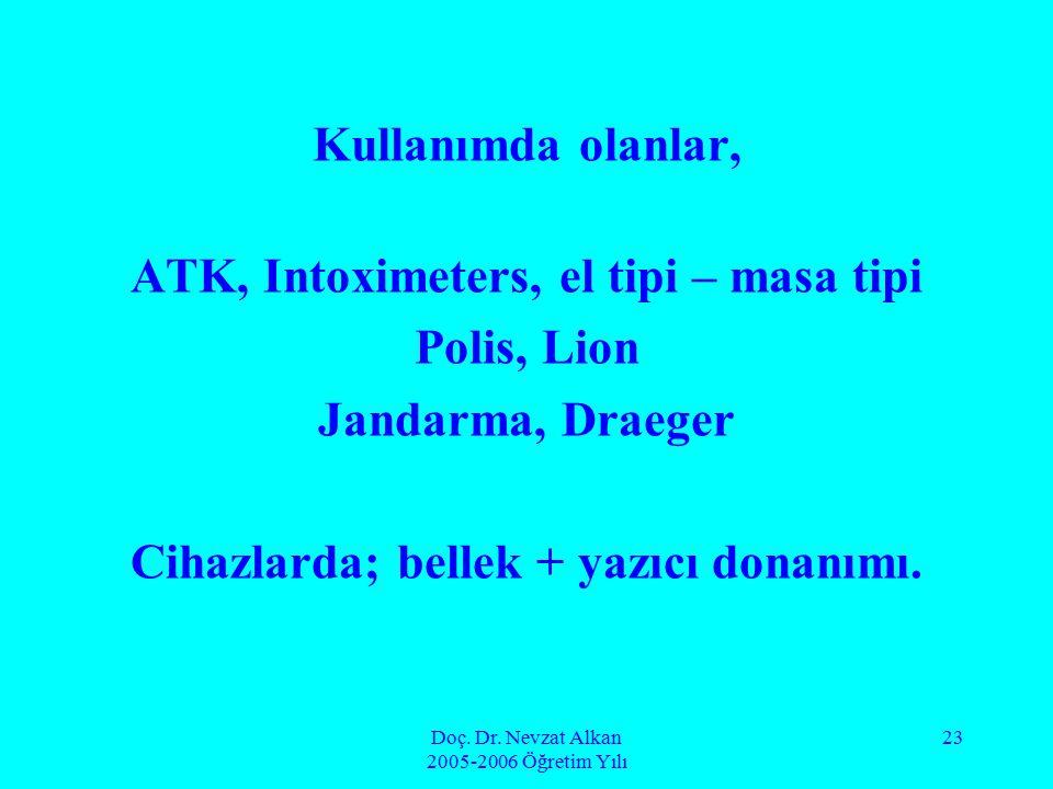 Doç. Dr. Nevzat Alkan 2005-2006 Öğretim Yılı 23 Kullanımda olanlar, ATK, Intoximeters, el tipi – masa tipi Polis, Lion Jandarma, Draeger Cihazlarda; b