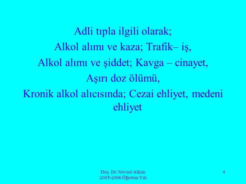 Doç. Dr. Nevzat Alkan 2005-2006 Öğretim Yılı 4 Adli tıpla ilgili olarak; Alkol alımı ve kaza; Trafik– iş, Alkol alımı ve şiddet; Kavga – cinayet, Aşır