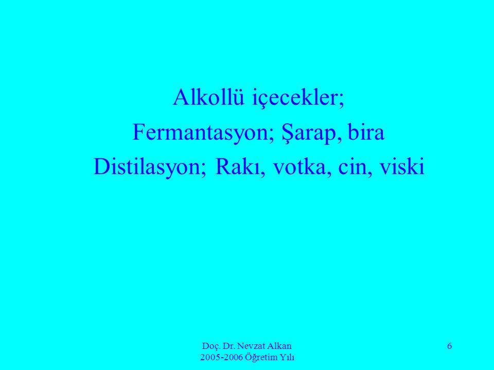 Doç. Dr. Nevzat Alkan 2005-2006 Öğretim Yılı 6 Alkollü içecekler; Fermantasyon; Şarap, bira Distilasyon; Rakı, votka, cin, viski