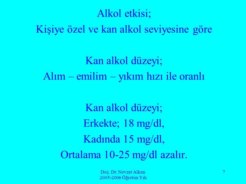 Doç. Dr. Nevzat Alkan 2005-2006 Öğretim Yılı 7 Alkol etkisi; Kişiye özel ve kan alkol seviyesine göre Kan alkol düzeyi; Alım – emilim – yıkım hızı ile