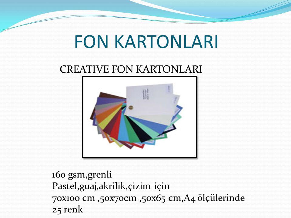 FON KARTONLARI CREATIVE FON KARTONLARI 160 gsm,grenli Pastel,guaj,akrilik,çizim için 70x100 cm,50x70cm,50x65 cm,A4 ölçülerinde 25 renk
