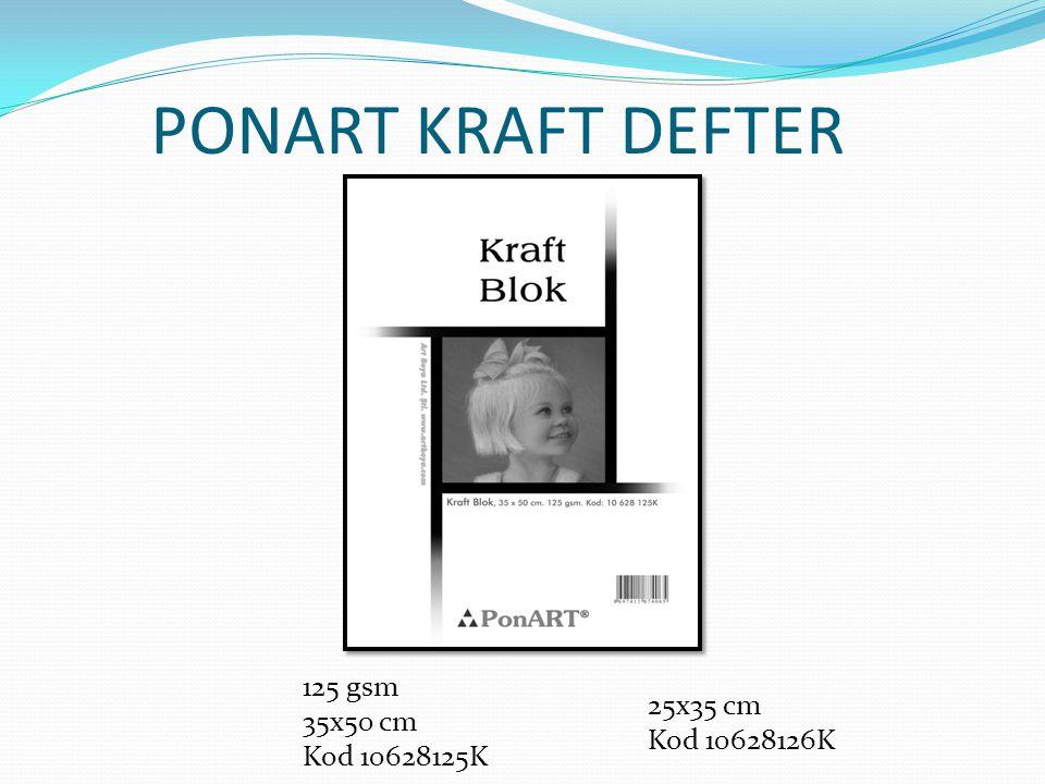 PONART KRAFT DEFTER 125 gsm 35x50 cm Kod 10628125K 25x35 cm Kod 10628126K