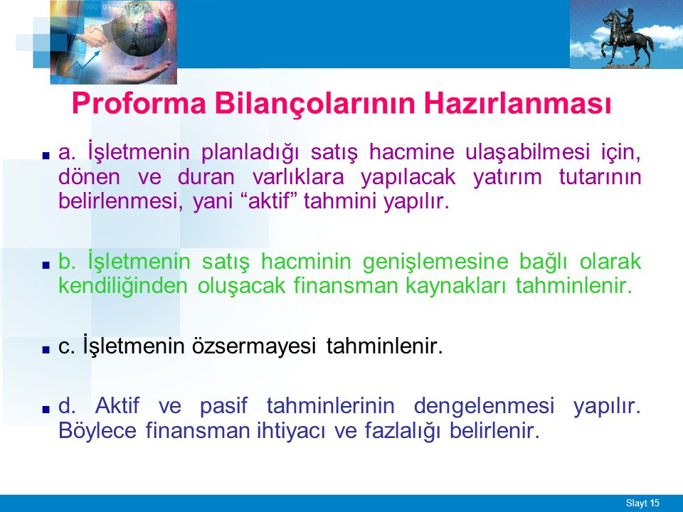 Slayt 15 Proforma Bilançolarının Hazırlanması ■ a.