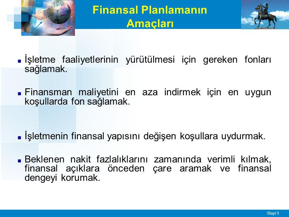 Slayt 5 Finansal Planlamanın Amaçları ■ İşletme faaliyetlerinin yürütülmesi için gereken fonları sağlamak. ■ Finansman maliyetini en aza indirmek için