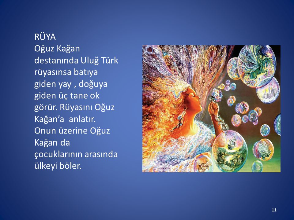 11 RÜYA Oğuz Kağan destanında Uluğ Türk rüyasınsa batıya giden yay, doğuya giden üç tane ok görür. Rüyasını Oğuz Kağan'a anlatır. Onun üzerine Oğuz Ka