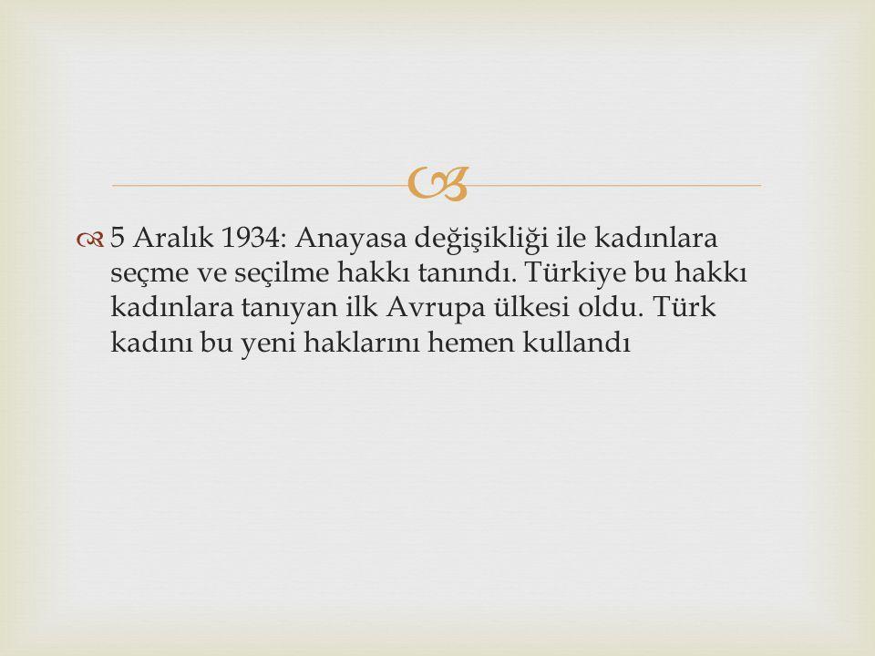   5 Aralık 1934: Anayasa değişikliği ile kadınlara seçme ve seçilme hakkı tanındı. Türkiye bu hakkı kadınlara tanıyan ilk Avrupa ülkesi oldu. Türk k
