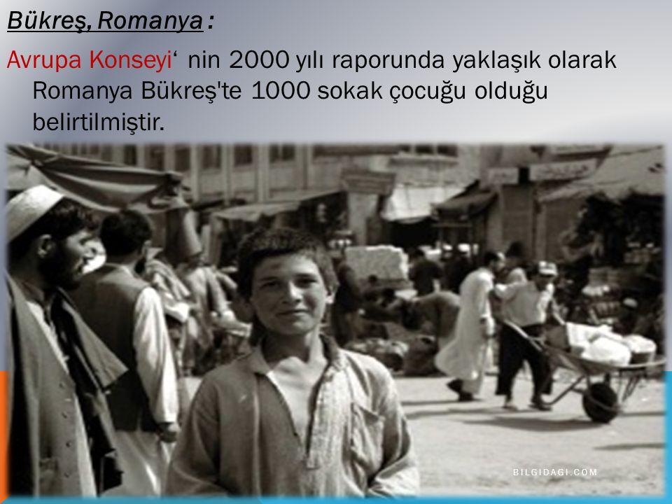 Bükreş, Romanya : Avrupa Konseyi' nin 2000 yılı raporunda yaklaşık olarak Romanya Bükreş te 1000 sokak çocuğu olduğu belirtilmiştir.