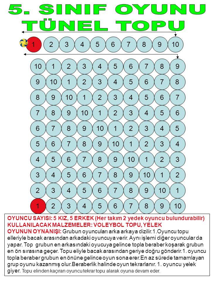 OYUNCU SAYISI: 5 KIZ, 5 ERKEK (Her takım 2 yedek oyuncu bulundurabilir) KULLANILACAK MALZEMELER: VOLEYBOL TOPU, YELEK OYUNUN OYNANIŞI: Grubun oyuncula