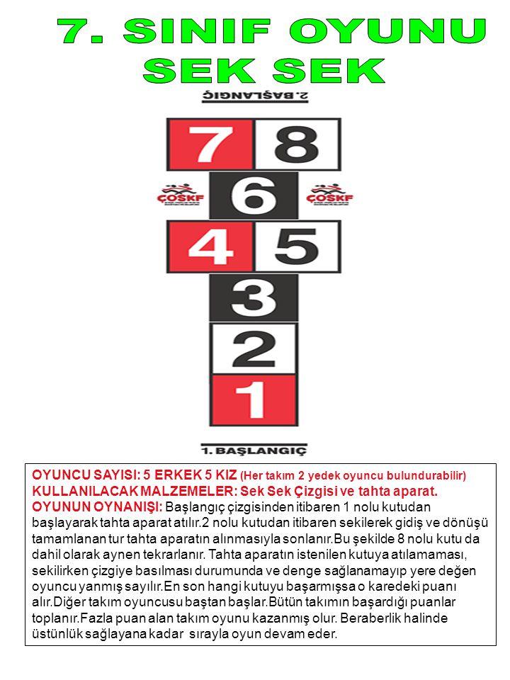 OYUNCU SAYISI: 5 ERKEK 5 KIZ (Her takım 2 yedek oyuncu bulundurabilir) KULLANILACAK MALZEMELER: Sek Sek Çizgisi ve tahta aparat. OYUNUN OYNANIŞI: Başl