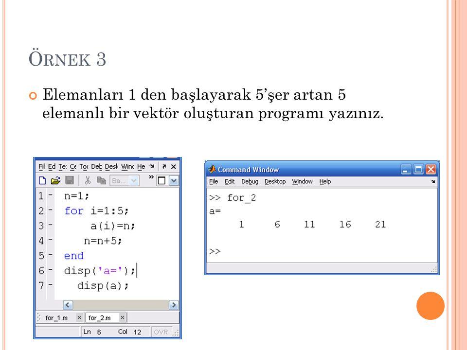 Ö RNEK 3 Elemanları 1 den başlayarak 5'şer artan 5 elemanlı bir vektör oluşturan programı yazınız.
