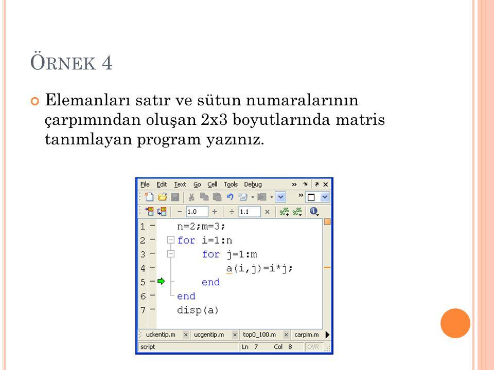 Ö RNEK 4 Elemanları satır ve sütun numaralarının çarpımından oluşan 2x3 boyutlarında matris tanımlayan program yazınız.