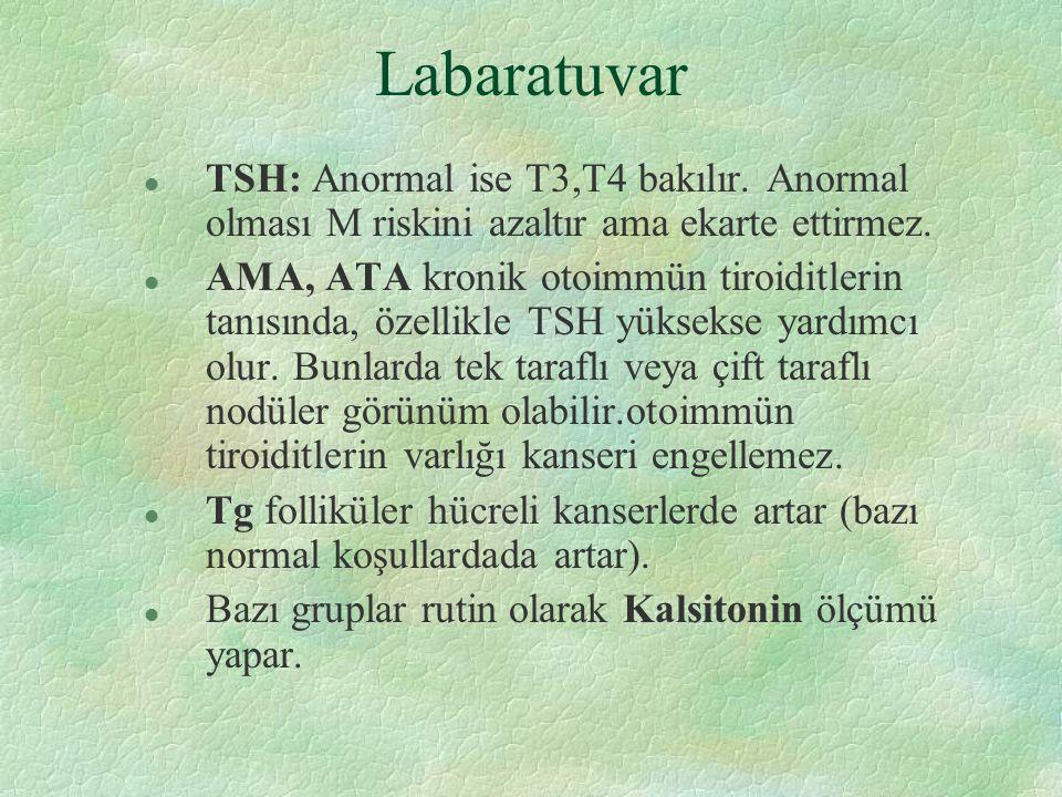Labaratuvar l TSH: Anormal ise T3,T4 bakılır. Anormal olması M riskini azaltır ama ekarte ettirmez. l AMA, ATA kronik otoimmün tiroiditlerin tanısında