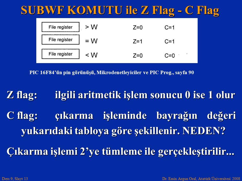 Dr. Emin Argun Oral, Atatürk Üniversitesi 2008 Ders 9, Slayt 13 SUBWF KOMUTU ile Z Flag - C Flag Z flag: ilgili aritmetik işlem sonucu 0 ise 1 olur C
