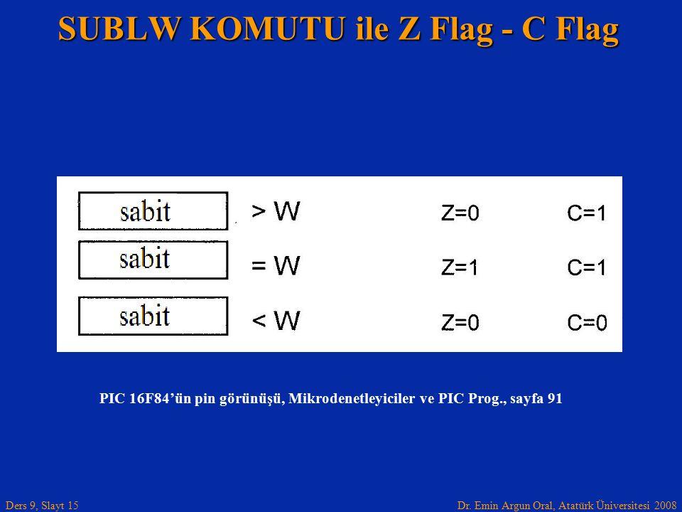 Dr. Emin Argun Oral, Atatürk Üniversitesi 2008 Ders 9, Slayt 15 SUBLW KOMUTU ile Z Flag - C Flag PIC 16F84'ün pin görünüşü, Mikrodenetleyiciler ve PIC