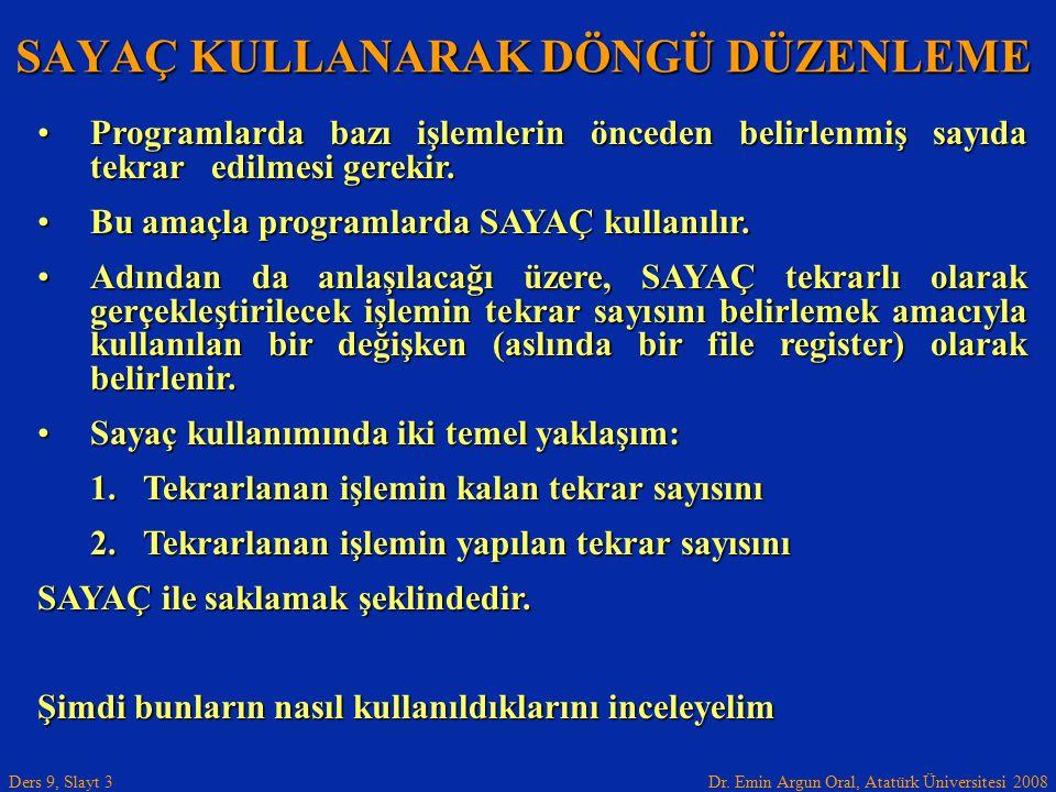 Dr. Emin Argun Oral, Atatürk Üniversitesi 2008 Ders 9, Slayt 3 SAYAÇ KULLANARAK DÖNGÜ DÜZENLEME Programlarda bazı işlemlerin önceden belirlenmiş sayıd