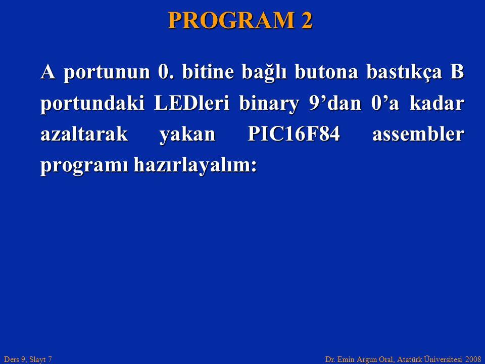 Dr. Emin Argun Oral, Atatürk Üniversitesi 2008 Ders 9, Slayt 7 A portunun 0. bitine bağlı butona bastıkça B portundaki LEDleri binary 9'dan 0'a kadar
