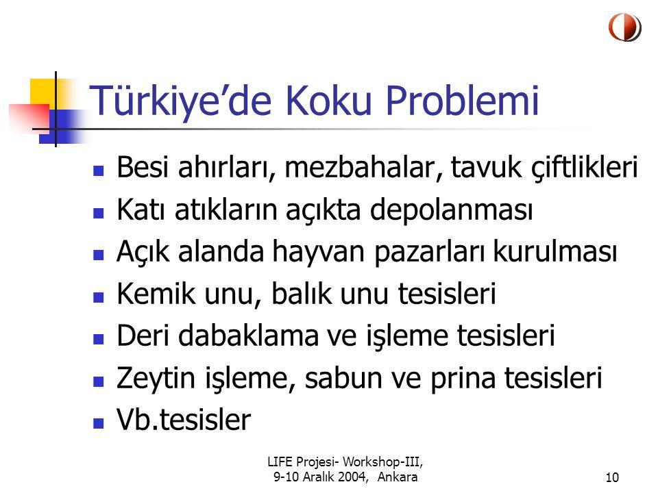 LIFE Projesi- Workshop-III, 9-10 Aralık 2004, Ankara10 Türkiye'de Koku Problemi Besi ahırları, mezbahalar, tavuk çiftlikleri Katı atıkların açıkta depolanması Açık alanda hayvan pazarları kurulması Kemik unu, balık unu tesisleri Deri dabaklama ve işleme tesisleri Zeytin işleme, sabun ve prina tesisleri Vb.tesisler