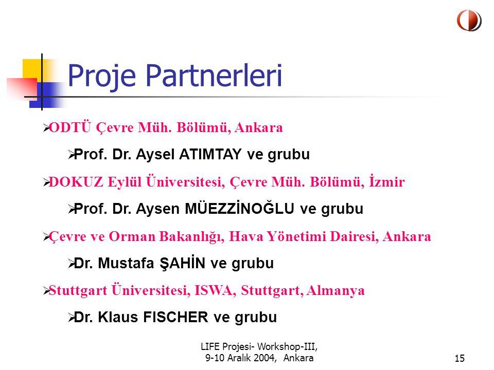 LIFE Projesi- Workshop-III, 9-10 Aralık 2004, Ankara15 Proje Partnerleri  ODTÜ Çevre Müh.