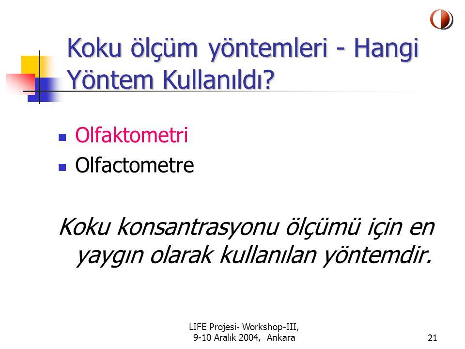 LIFE Projesi- Workshop-III, 9-10 Aralık 2004, Ankara21 Olfaktometri Olfactometre Koku konsantrasyonu ölçümü için en yaygın olarak kullanılan yöntemdir.