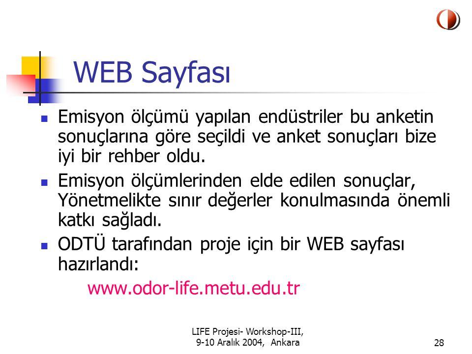 LIFE Projesi- Workshop-III, 9-10 Aralık 2004, Ankara28 WEB Sayfası Emisyon ölçümü yapılan endüstriler bu anketin sonuçlarına göre seçildi ve anket sonuçları bize iyi bir rehber oldu.