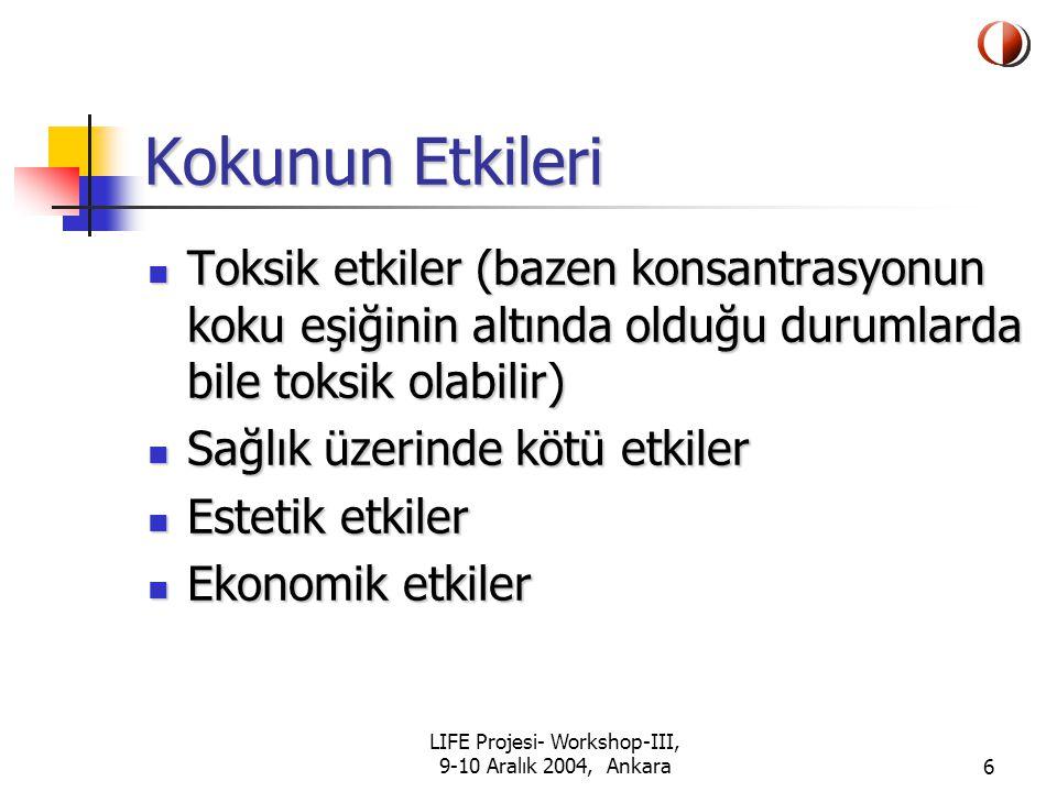 LIFE Projesi- Workshop-III, 9-10 Aralık 2004, Ankara27 Anket Çalışması Çevre ve Orman Bakanlığı, Hava Yönetimi Dairesi'deki proje elemanları da Türkiye'deki tüm illere bir anket formu göndererek bu illerde şikayete konu olan koku problemlerini araştırdı ve anketler değerlendirildi.