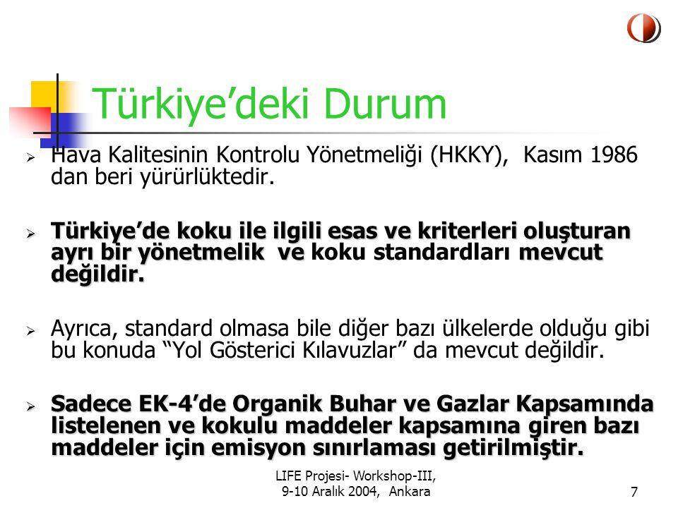 LIFE Projesi- Workshop-III, 9-10 Aralık 2004, Ankara18 Proje Çalışmaları Proje çalışmaları iki grupta toplandı: Emisyon Ölçümleri (Değişik endüstrilerden ve koku kaynaklarından ortama atılan kokuların konsantrasyonlarının ölçülmesi- Hazırlanacak Yönetmelikte Emisyon sınır değerlerine baz teşkil etmek üzere) İmisyon Ölçümleri (Dış ortamdaki ölçümler) (Ortam havasında değişik bölgelerde % koku saati nedir ve halk sağlığını korumak için Yönetmelikte imisyon sınır değeri olarak ne konulmalıdır??)