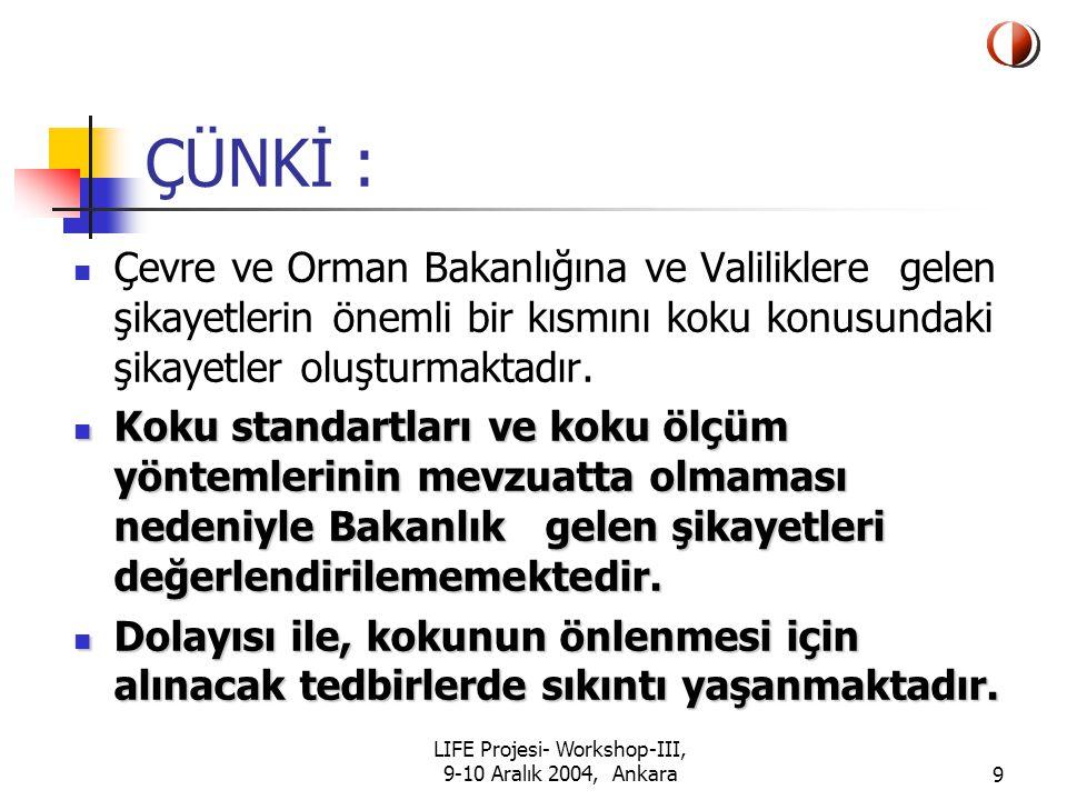 LIFE Projesi- Workshop-III, 9-10 Aralık 2004, Ankara30 Yönetmelik Taslağının Hazırlanması Tüm bu çalışmalardan sonra Türkiye'de bir ilk olarak bilimsel çalışmalar ışığında bir Yönetmelik taslağı hazırlandı.