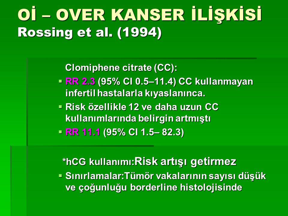 Oİ – OVER KANSER İLİŞKİSİ Rossing et al. (1994) Clomiphene citrate (CC): Clomiphene citrate (CC):  RR 2.3 (95% CI 0.5–11.4) CC kullanmayan infertil h