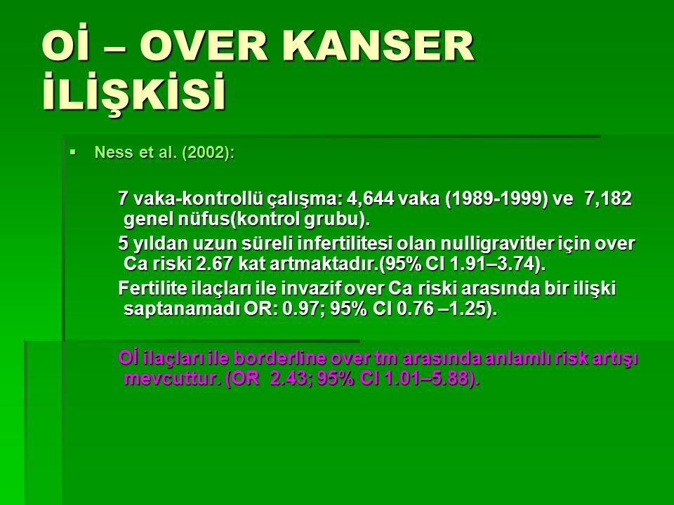 Oİ – OVER KANSER İLİŞKİSİ  Ness et al. (2002): 7 vaka-kontrollü çalışma: 4,644 vaka (1989-1999) ve 7,182 genel nüfus(kontrol grubu). 7 vaka-kontrollü