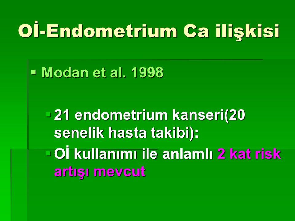 Oİ-Endometrium Ca ilişkisi  Modan et al. 1998  21 endometrium kanseri(20 senelik hasta takibi):  Oİ kullanımı ile anlamlı 2 kat risk artışı mevcut