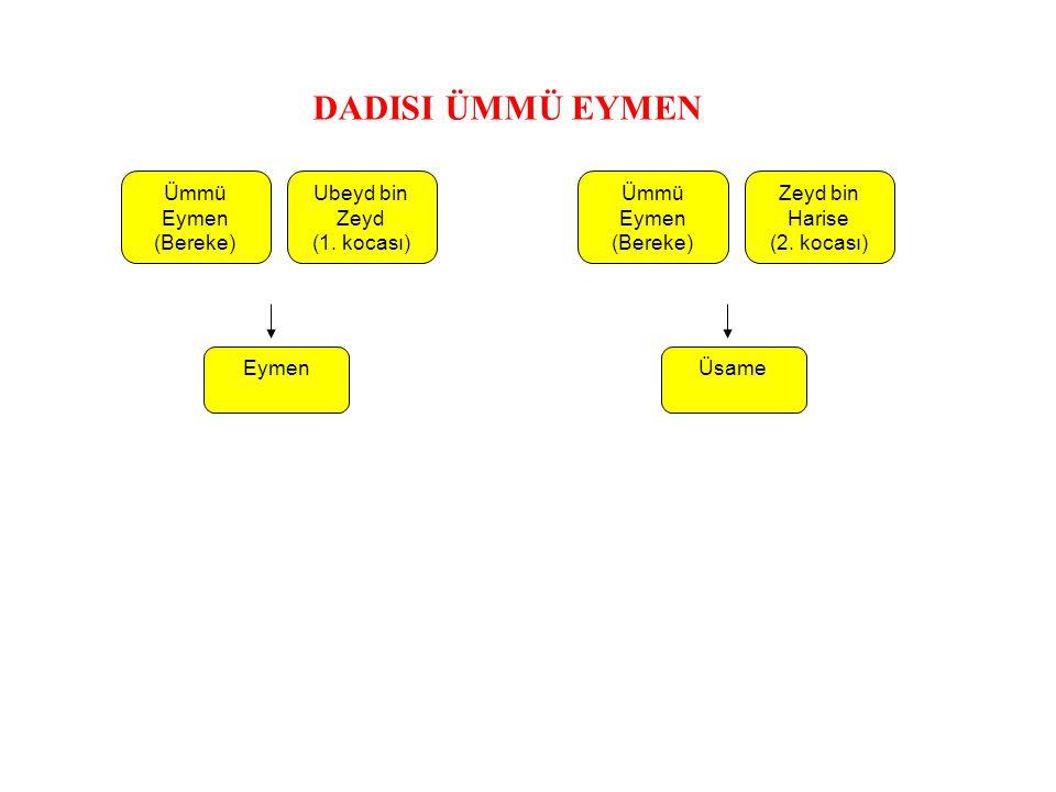 Ubeyd bin Zeyd (1. kocası) Eymen Ümmü Eymen (Bereke) Zeyd bin Harise (2. kocası) Üsame Ümmü Eymen (Bereke) DADISI ÜMMÜ EYMEN
