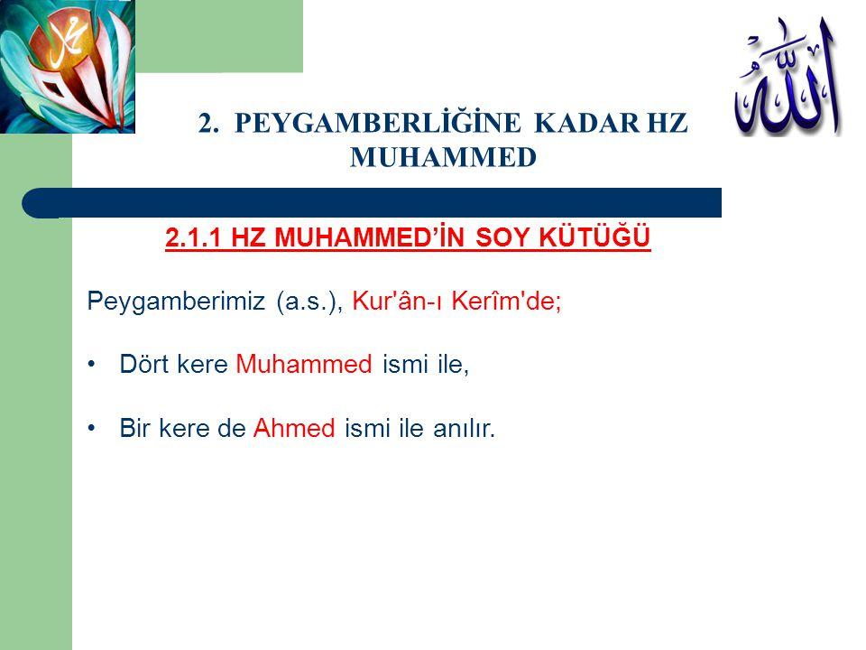 2.1.1 HZ MUHAMMED'İN SOY KÜTÜĞÜ Peygamberimiz (a.s.), Kur'ân-ı Kerîm'de; Dört kere Muhammed ismi ile, Bir kere de Ahmed ismi ile anılır. 2. PEYGAMBERL